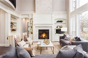 residential home interior fireplace